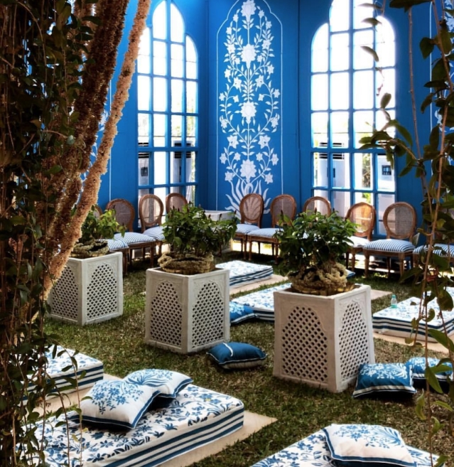 Here's the stunning blue Bar Palladio Jaipur inspired outdoor area designed by Rani Pink.