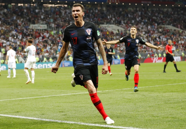 Mario Mandzukic reacts after scoring the winner for Croatia.