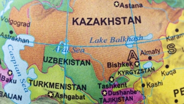 A map of Central Asia.