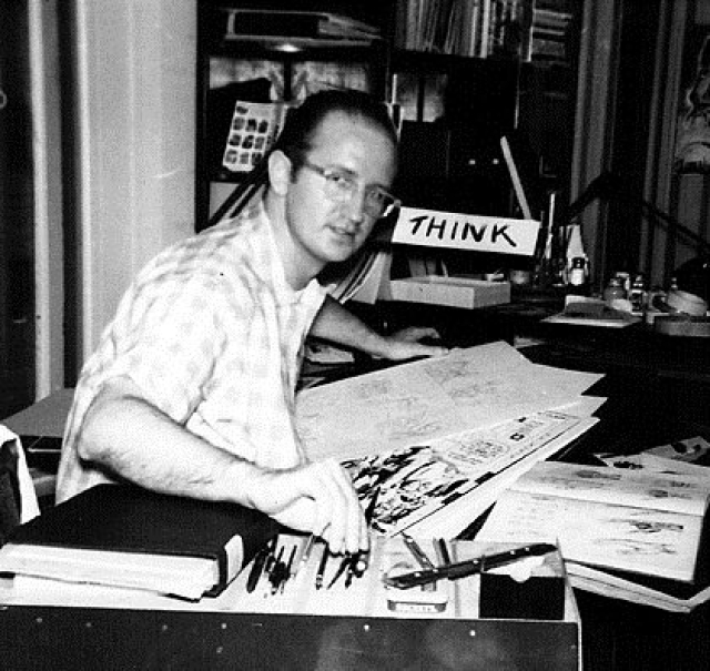 Artist Steve Ditko at work.