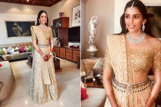 Doesn't the to-be-Ambani-bride look drop dead gorgeous!