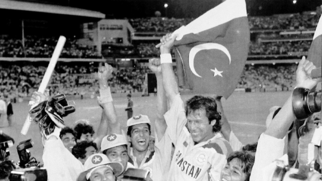 Pakistan cricket team celebrates after winning the 1992 cricket world cup.