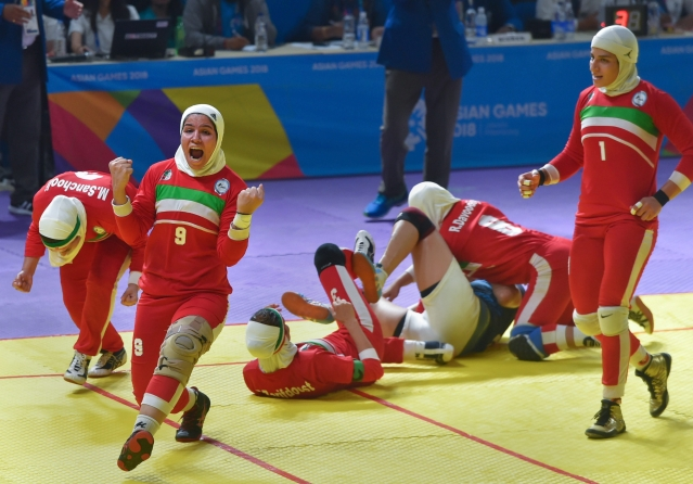 Jakarta: Iranian women's kabaddi team celebrate their win over India in the finals at the Asian Games 2018, in Jakarta.