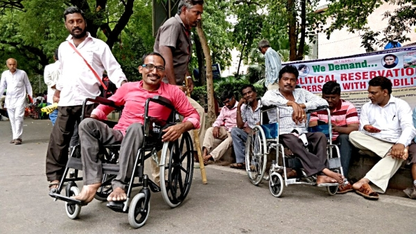 Over 30 activists for the differently-abled from Telangana demanded political reservation at a protest in Delhi's Jantar Mantar.