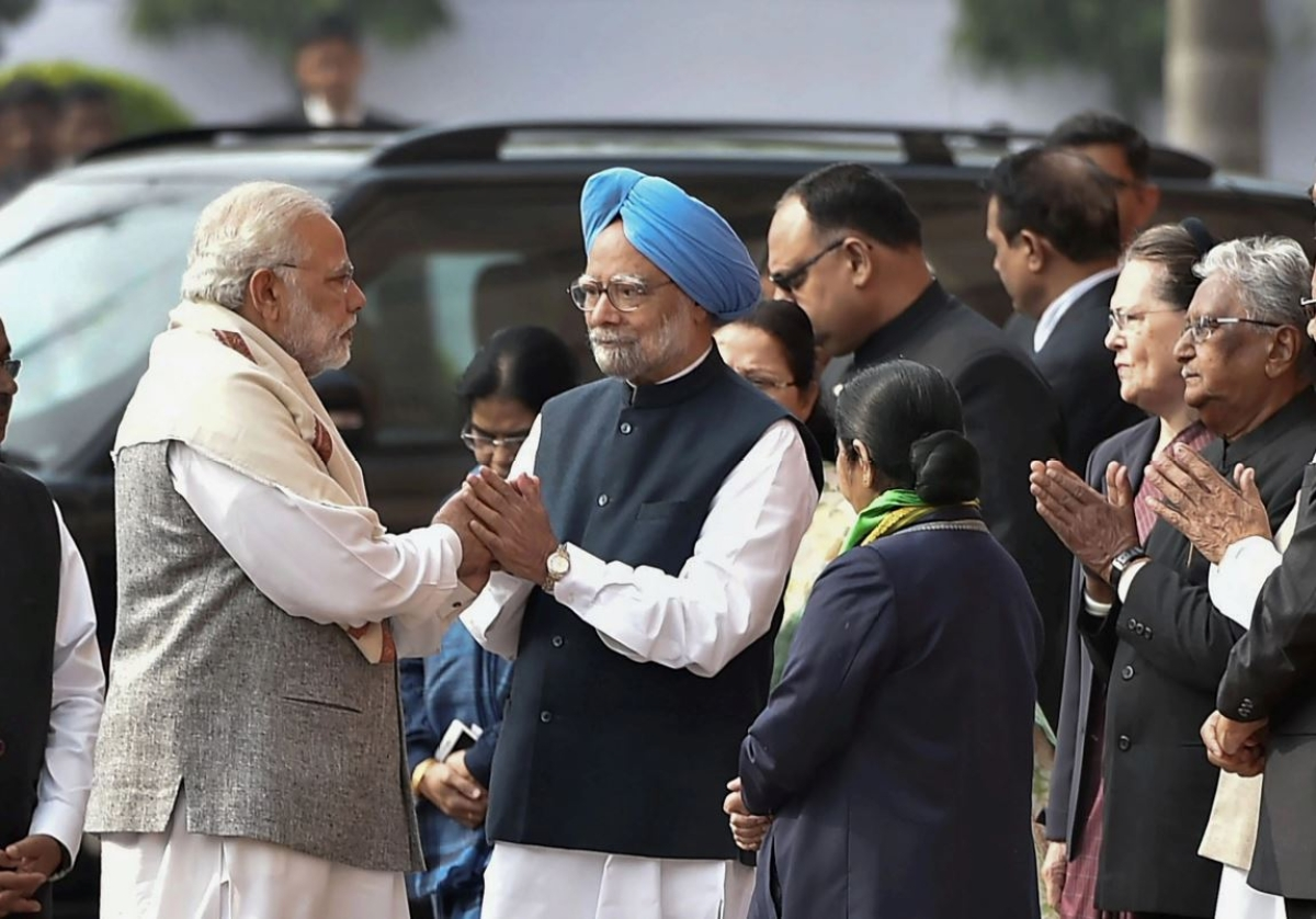 Prime Minister Narendra Modi with Former Prime Minister Manmohan Singh, at Parliament House in New Delhi.