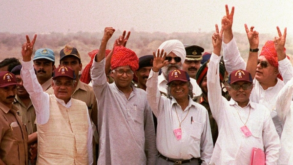 20 May, 1998 file photo, from left, Indian Prime Minister Atal Bihari Vajpayee, Defense Minister George Fernandes, founder of the Indian nuclear program APJ Abdul Kalam, and Atomic Energy Chief R Chidambaram display the victory symbol.
