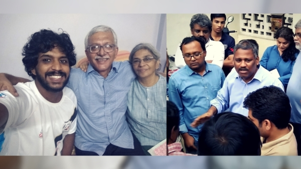 Arrested activist Vernon Gonsalves with his family (left); Professor K Satyanarayana, son-in-law of arrested activist Varavara Rao.