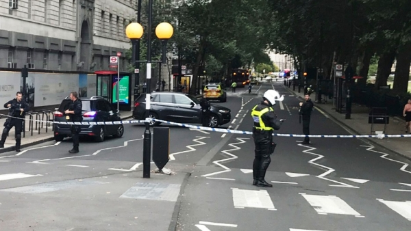 Armed police swooped into the area and cordoned off streets surrounding the heart of Britain's government.