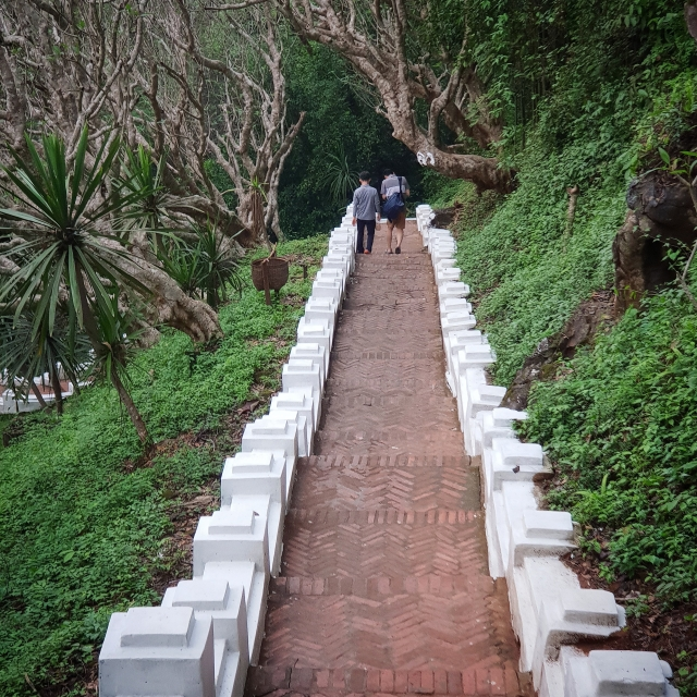 Phou Si Mountain with steps that create an optical illusion.