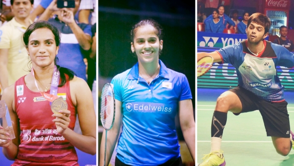 From left: PV Sindhu, Saina Nehwal and Sai Praneeth.
