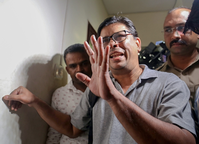 Arun Ferreira, a human rights activist and lawyer, after he was arrested by the Pune police in connection with Bhima Koregaon violence case, in Mumbai on Tuesday.