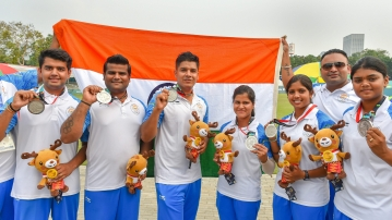 The Indian Men's Compound Archery team  and the Indian Women's Compound Archery team after winning their medals at the 2018 Asian Games in Jakarta, Indonesia.