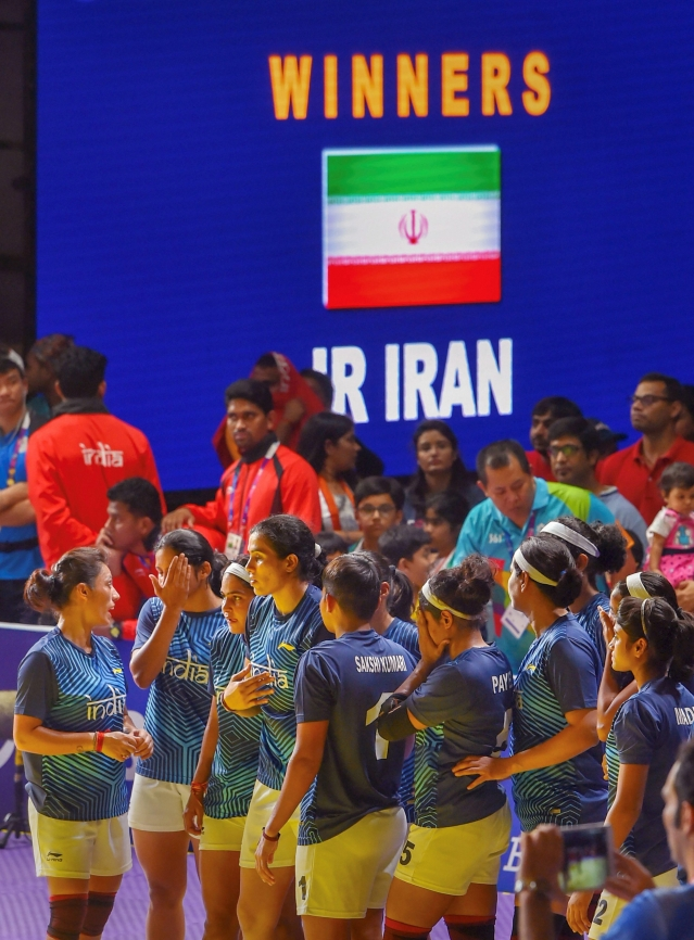 Jakarta: India's women's kabaddi team after losing against Iran in the finals at the Asian Games 2018, in Jakarta.
