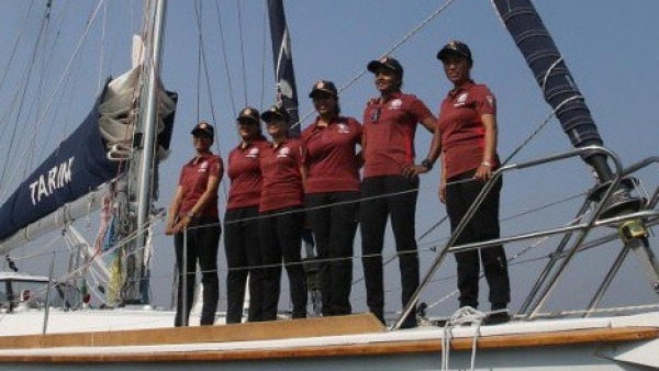 The women of the INS Tarini sailed around the world in 199 days.