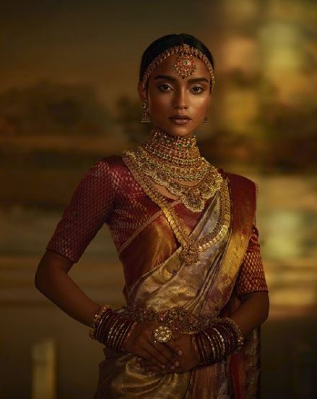 """A classic Sabyasachi Kanjeevaram silk saree woven by the master weavers of Kanchipuram with hand-embroidered border,"" or so Sabyasachi says."