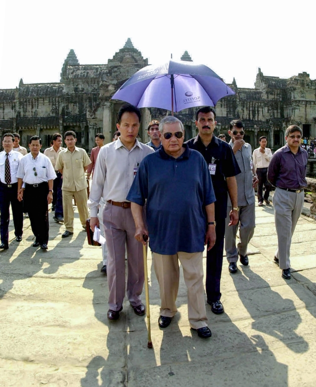 In this April 11, 2002, file photo former prime minister Atal Bihari Vajpayee is seen at Angkor Wat temple at Siem Reap, northwest of Phnom Penh in Cambodia.