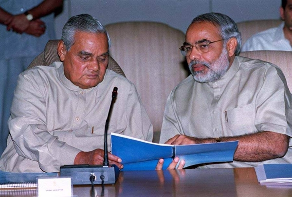 File photo of PM Narendra Modi with former prime minister Atal Bihari Vajpayee