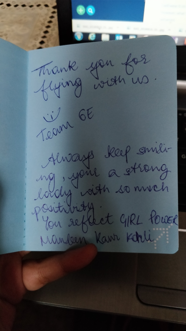 The sweet note given to me by the IndiGo crew.