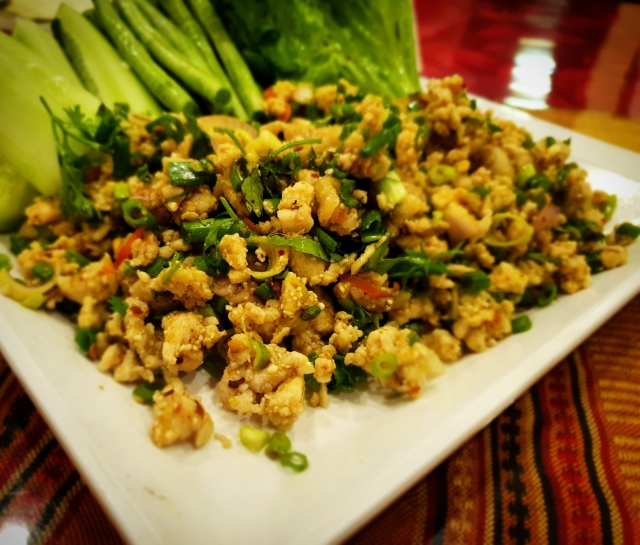 Larb, a fiery meat salad.