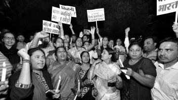 Protesters during a midnight candlelight vigil against the Kathua and Unnao rape cases.