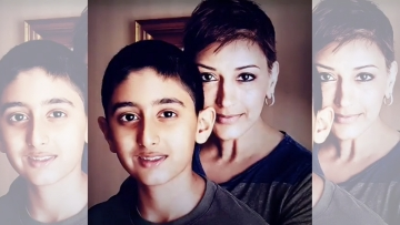 Sonali Bendre with son Ranveer.