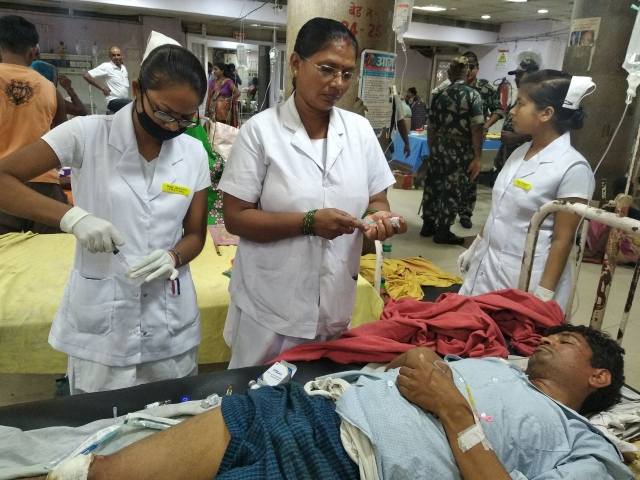 Victim Sanjay Kumar recuperating at a hospital in Patna.
