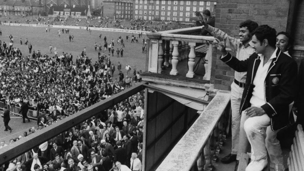 Captain Ajit Wadekar and leg-spinner Bhagwath Chandrasekhar wave to the crowd at The Oval after helping India win their first-ever Test series in England.