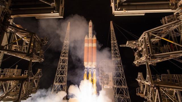 The United Launch Alliance Delta IV Heavy rocket launches NASA's Parker solar probe.