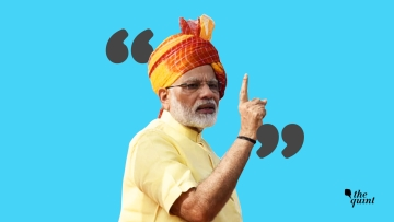 Can you predict what Modi ji will say next? Vote, and write your own version of the Prime Minister's speech. (Photo: Aaqib Raza Khan/<b>The Quint</b>)