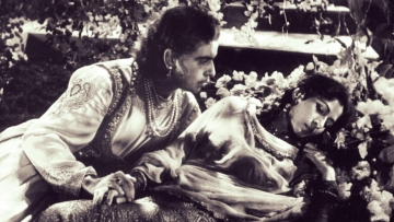 Madhubala in a song sequence from the film <i>Mughal-e-Azam</i>, which was shot in Mumbai's Mohan Studio.