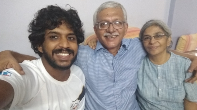 On the day of the arrest: Activist Vernon Gonsalves, lawyer Susan Abraham and their son Sagar click a selfie before the cops take Vernon away.