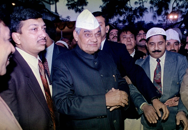 15 January, 1999 file photo, Prime Minister Atal Bihari Vajpayee, center, meets with delegations ahead of Eid ul-Fitr in New Delhi.