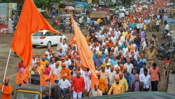 File picture of protesters from the Maratha community taking part in a rally demanding reservation.