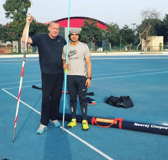 Neeraj with his German coach Uwe Hohn at a training camp in Patiala.