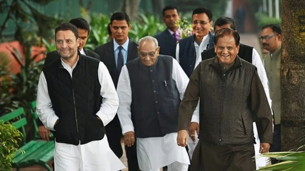 File photo of Rahul Gandhi, Motilal Vora and Ahmed Patel after a meeting at the Congress headquarters.
