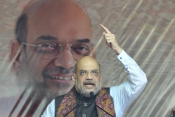 File photo of BJP Chief Amit Shah addressing a rally in Kolkata.