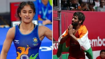 Vinesh Phogat (left) and Bajrang Punia (right) won gold medals at both the Commonwealth and the Asian Games in 2018.