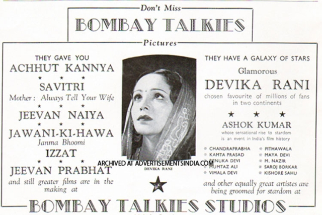 An advertisement for the films that came to life at Bombay Talkies.