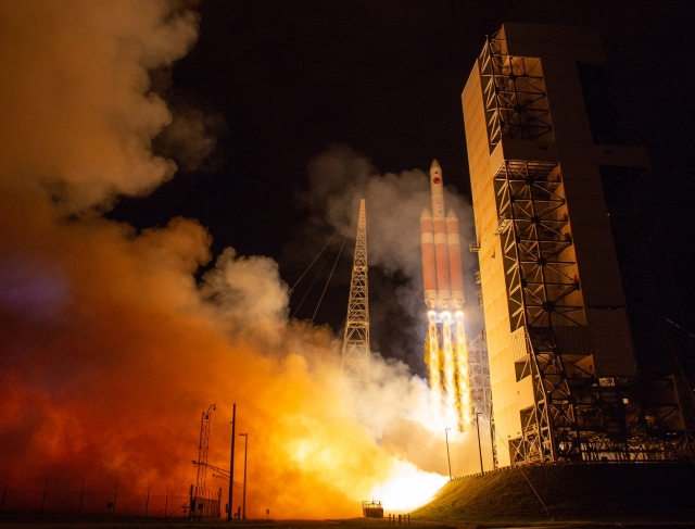 At Cape Canaveral Air Force Station's Space Launch Complex 37, the United Launch Alliance Delta IV Heavy rocket with NASA's Parker solar probe lifts off.