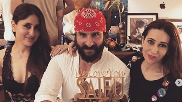 Saif Ali Khan poses with wife Kareena and sister-in-law Karisma Kapoor on his birthday.
