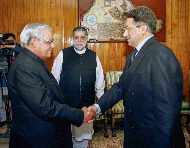 In this 4 January, 2004, file photo  former prime minister Atal Bihari Vajpayee is seen with the then Pakistani President Pervez Musharraf and Pakistani PM Zafarullha Khan Jamali at a meeting in Islamabad.