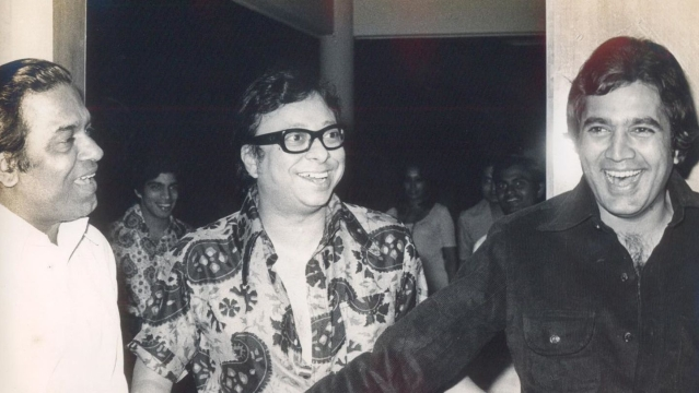 Shakti Samanta with RD Burman and Rajesh Khanna.
