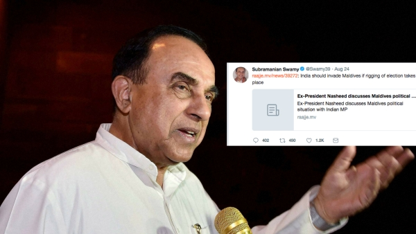 Govt Distances Itself from Swamy's Comments on 'Invading' Maldives