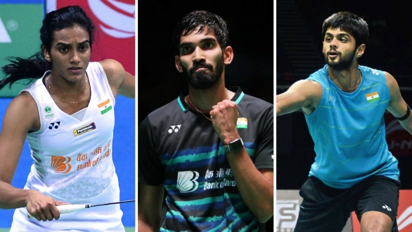 From left: PV Sindhu, Kidambi Srikanth and Sai Praneeth.