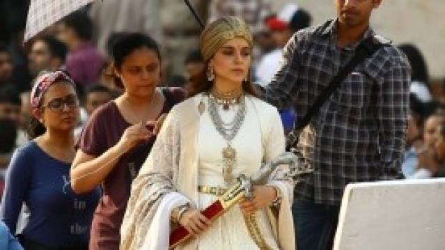 Actress Kangana Ranaut during shooting of her upcoming film <i>Manikarnika: The Queen of Jhansi</i> at Amber Fort in Jaipur.
