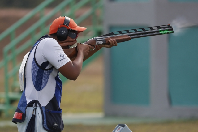 India's Shardul Vihan in action in the final round of double trap men's competition at the 18th Asian Games in Palembang, Indonesia.