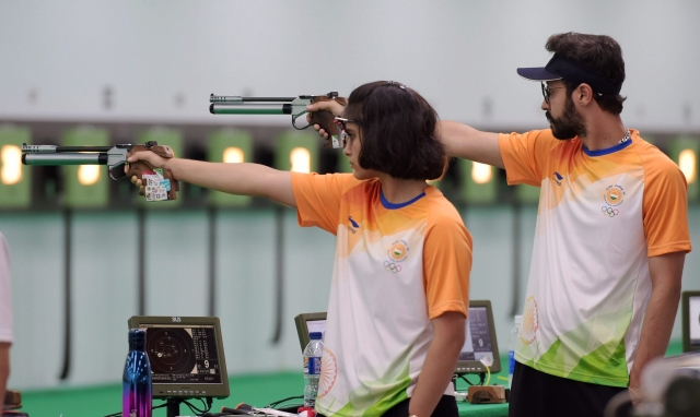 Palembang: Indian shooter Manu Bhaker competes in the 10m air pistal qualification round during the 18th Asian Games Jakarta, Palembang, 2018, in Indonesia on Sunday, Aug 19, 2018.