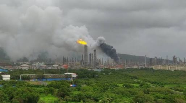 A glimpse of the Mahul refinery fire.