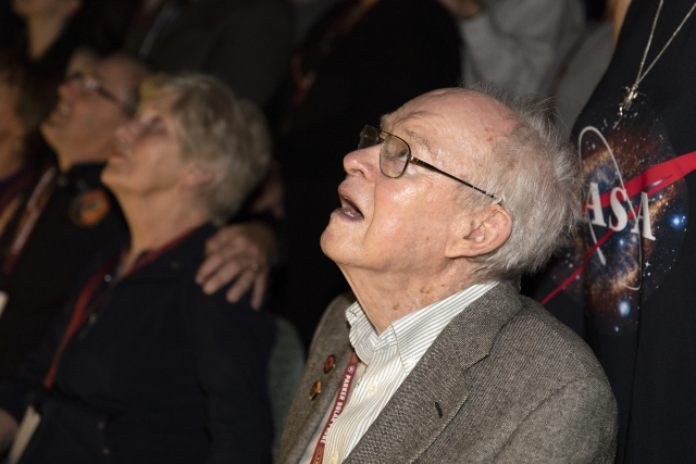 Eugene Parker watches the launch of NASA's Parker solar probe named after him. This is the first agency mission named after a living person.