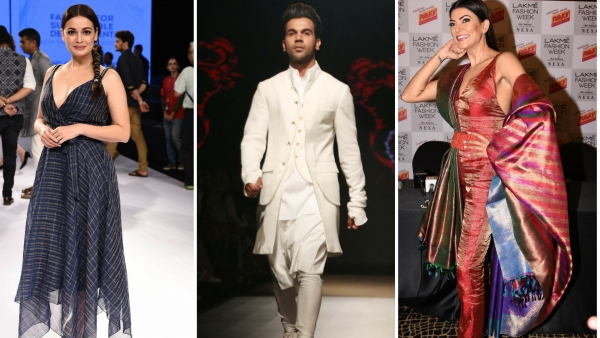 Dia Mirza, Rajkummar Rao and Sushmita Sen at the Lakme Fashion Week 2018 Winter/Festive edition.